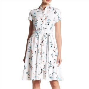 Chetta B Sailboat print fit and flare dress